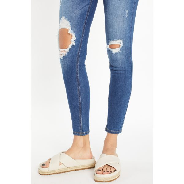 Denim Distressed Ankle Jeans Buy Now